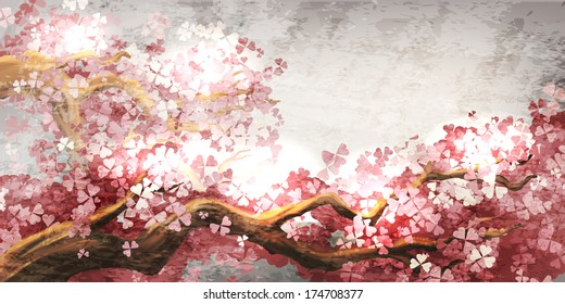 Sakura branch blooming
