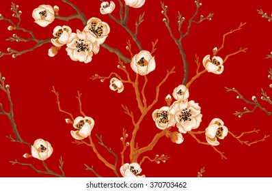 Sakura branch on red background. Vector seamless pattern. Floral design oriental style. Vintage. Black, white, red colors. Beautiful flowers of Oriental cherry tree gold foil printing.
