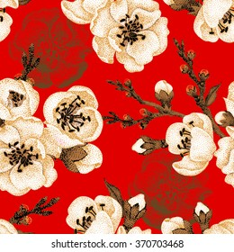 Sakura branch on red background. Vector seamless pattern. Floral design oriental style. Vintage. Black white red. Beautiful flowers of Oriental cherry tree gold foil printing. Oriental cherry tree.