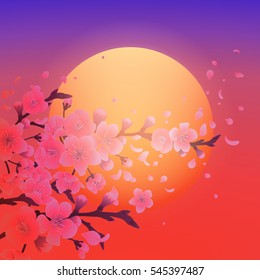 Sakura branches in the evening time with setting sun on the purple sky. Vintage illustration in asian style