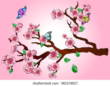 Sakura and butterflies on a pink background.