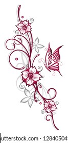 Sakura. Filigree Tribal Tattoo ornament with flowers, butterfly and cherry blossoms. Cherry red and gray.