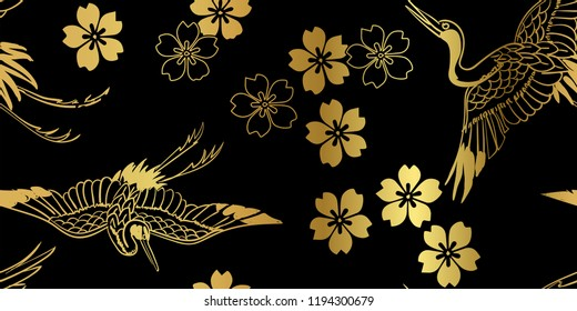 sakura flower bird crane  japanese chinese design vector seamless pattern