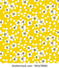 sakura flower blossom seamless pattern on sunny yellow background. elegant naive spring floral design element for invitation, card, poster, greetings, wedding.