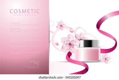 Sakura flower cosmetic product poster, pink bottle package design with moisturizer cream or liquid, sparkling background with glitter polka, vector design.
