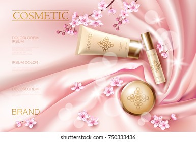 Sakura flower cosmetic promotional poster template. Pink petal blossom japanese branch. Golden pink package realistic 3d face care flat lay top view silk satin vector illustration