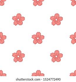 sakura flower seamless doodle pattern, vector illustration