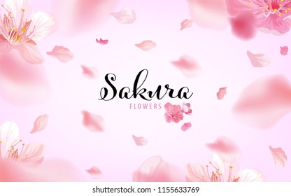 Sakura flowers background template. Vector set of blooming floral for holiday invitations, greeting card and fashion design.