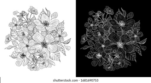 Sakura flowers blossom tree set. Vector editable patch line abstract background design pattern hand drawn  ink style. Branch cherry floral garden illustration, isolated on white and black colors