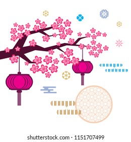 Flower cartoon images stock photos vectors shutterstock sakura flowers in cartoon style beautiful japanese background pink lanterns and golden clouds mightylinksfo