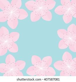 Sakura flowers Japan blooming cherry blossom set Blue background Template Flat design Vector illustration