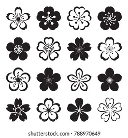 Sakura icons. Collection of 16 Japanese cherry blossom symbols isolated on a white background. Vector illustration