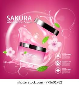 sakura nature cream serum, collagen solution mask sheet Skin Care Cosmetic.
