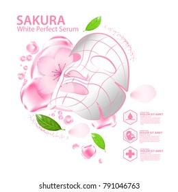 sakura nature serum, collagen solution mask sheet Skin Care Cosmetic.
