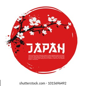Sakura on red background of the sun. Vector