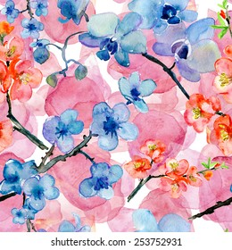 sakura and orchid flowers. seamless watercolor pattern