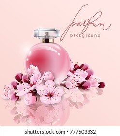 Sakura perfume ads, realistic style perfume in a glass bottle on pink background with sakura flowers. Great advertising poster for promoting a new fragrance Vector template.