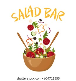 Salad bar composition with wood pot of greek salad for vegetarian menu and health food advertising flat vector illustration