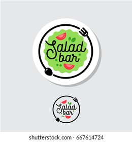 Salad bar logo. Cafe or restaurant emblem. Plate with fork, spoon and salad on a light background.