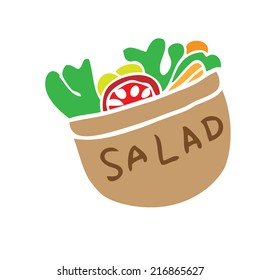 Salad bowl cartoon painting character
