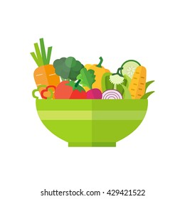 Salad bowl - healthy food, organic vegetables. Can be used for any printed or web graphic, for infographics to illustrate healthy lifestyle or vegan, vegetarian, raw diet.