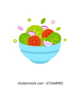Salad bowl vector illustration. Simple flat cartoon design food icon.
