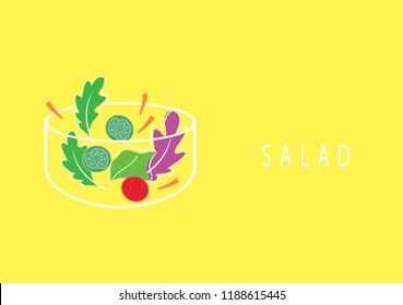 Salad in bowl vector on yellow background.