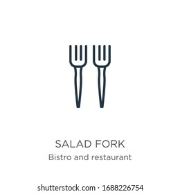 Salad fork icon. Thin linear salad fork outline icon isolated on white background from bistro and restaurant collection. Line vector sign, symbol for web and mobile