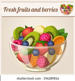 Salad with fresh fruits and berries. Detailed Vector Icon. Series of food and drink and ingredients for cooking.