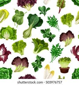 Salad greens and leafy vegetables pattern. Vegetarian fresh green sheaf of arugula, iceberg lettuce, cabbage, chard, chicory, escarole, kale, radicchio, spinach. Kitchen decoration background