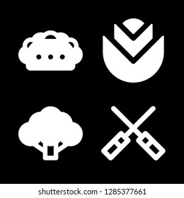 salad icons set with broccoli, taco and lettuce vector set