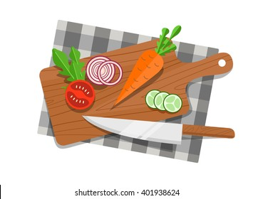 Salad ingredients on cutting board with knife.