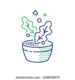 Salad leaves falling in bowl, nutrition food, healthy diet, fast and easy recipe, meal preparation, vector line icon, linear illustration