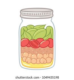 Salad in mason jar, healthy vegan lunch idea. Cute hand drawn meal prep with vegetables, beans and dressing.