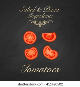 Salad and pizza ingredients - sliced tomatoes. Vector Illustration