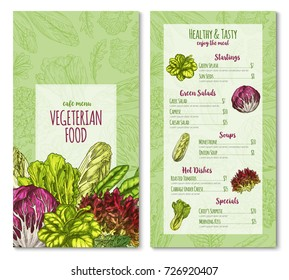 Salads and lettuce vegetables menu template for vegetarian cafe or restaurant. Vector price sketch design of chicory, radiccio or sorrel and pak choi, farm arugula or cabbage and oakleaf lettuce