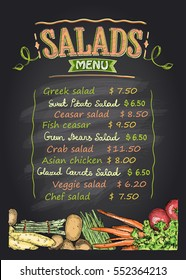 Salads menu list chalkboard design with assorted vegetables, hand drawn illustration with copy space