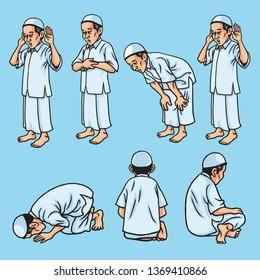 Salah, Sholat, Shalat, Muslim Pray Set Movement Icon Illustration Vector
