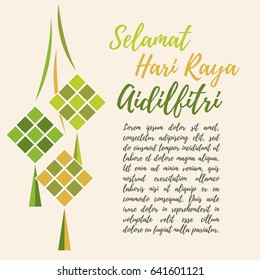 Salam Aidilfitri greeting card. Vector ketupat (rice dumpling) - traditional asian food. Islamic background. (caption: Fasting Day of Celebration) - stock vector