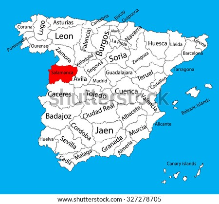 Salamanca Map Spain Province Vector Map Stock Vector (Royalty Free
