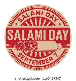 Salami Day, September 7, rubber stamp, vector Illustration