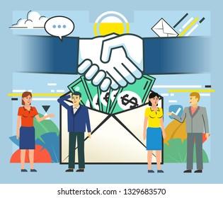 Salary, bribe, money in envelope. Successful business deal, agreement, handshake. Poster for social media, web page, banner, presentation. Flat design vector illustration
