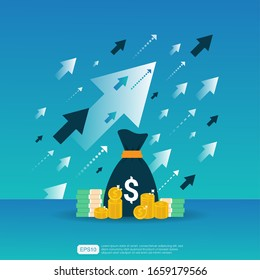 Salary income rate increase. Graphic Business chart margin revenue growth. Finance performance of return on investment ROI concept with arrow element. flat style design vector illustration