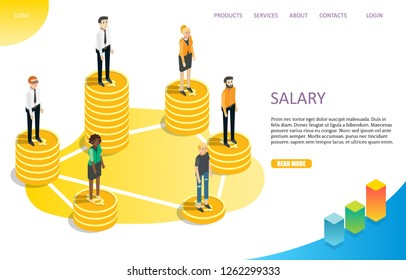 Salary landing page website template. Vector isometric business people standing on piles of dollar coins. Payroll, salary payment, differences in the amounts of wages.