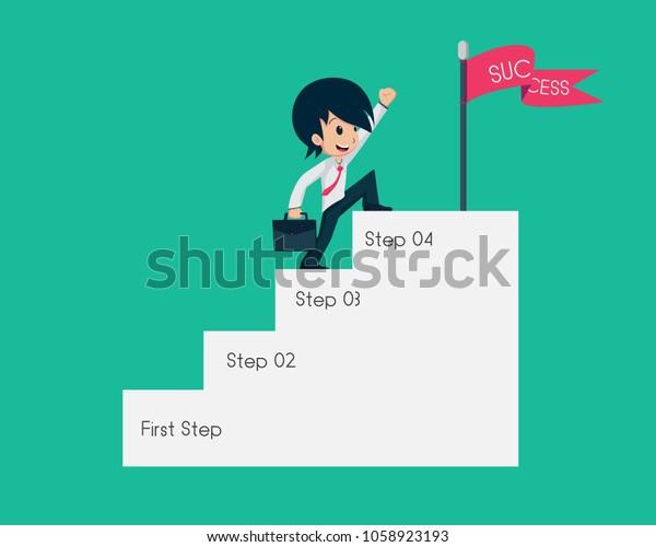 Salary Man 01 Go Success Point Stock Vector (Royalty Free) 1058923193