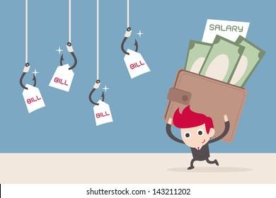 salary man and bill payment, cartoon vector