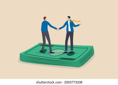 Salary negotiation, pay raise discussion or wages and benefit agreement, business deal or merger and acquisition concept, business people handshake on pile of money banknote after finish agreement.
