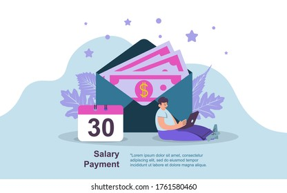 Salary Payment Concept, Showing a man working on laptop.  Salary payment day concept, Suitable for landing page, UI, web, App intro card, editorial, flyer,and banner Vector Illustration EPS
