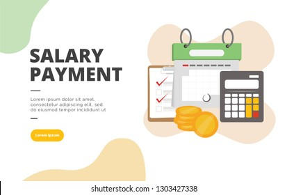 Salary Payment flat design banner illustration concept for digital marketing and business promotion
