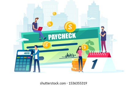 Salary and payroll concept. Vector of employees, calendar with payday and a paycheck